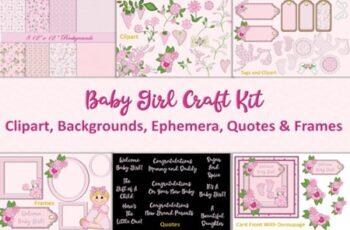 Baby Girl Clipart & Backgrounds Bundle 1730509 2