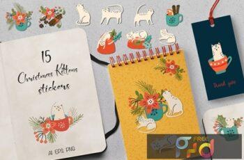 Christmas Kittens Stickers PCTSBJU 5