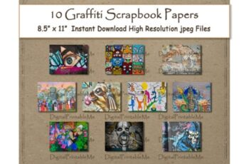 Graffiti Digital Paper Print 8.5 Bundle 3