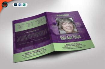 Lavender Plus Green Funeral Program 1589586 6
