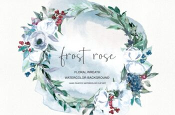Watercolor White Rose Wreath Clipart 1585431 12