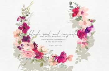 Hand Painted Watercolor Floral Wreath 1743293 11