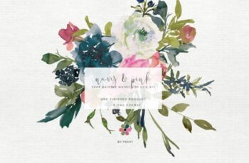 Hand Painted Watercolor Peony Bouquet 1743284 5