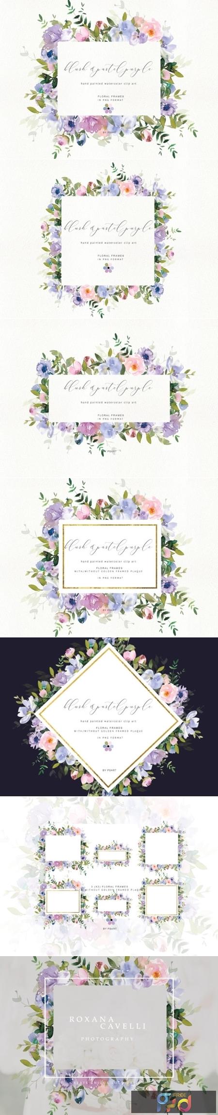 Watercolor Floral Clipart Blush Purple 1743272 1