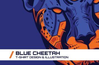 Blue Cheetah T-Shirt Illustration 1745113