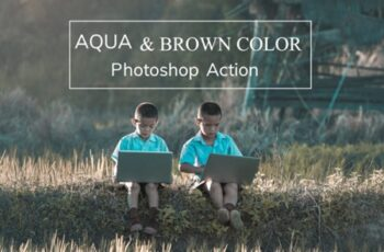 Aqua and Brown Color - Photoshop Action 1760810 2