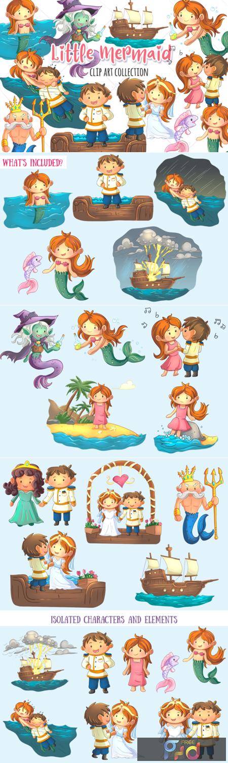 Little Mermaid Clip Art Collection 1745068 1