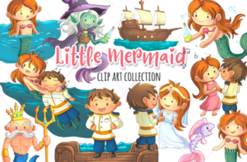 Little Mermaid Clip Art Collection 1745068 4