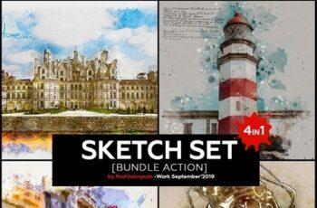 Sketch Set Bundle Photoshop Action 24616268 3