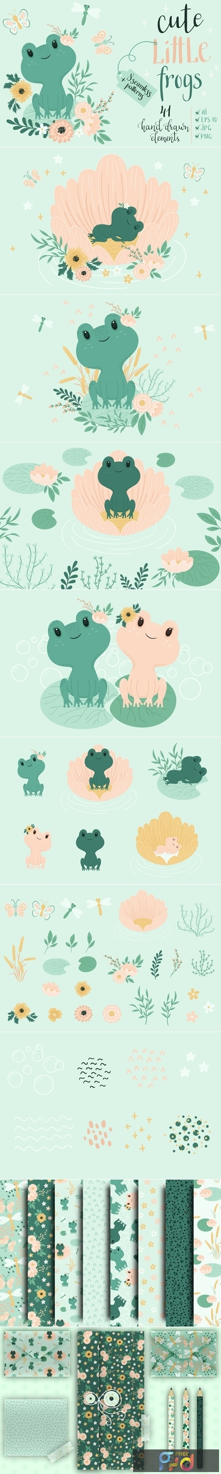 Cute Little Frogs Vector Graphic Set 3993852 1
