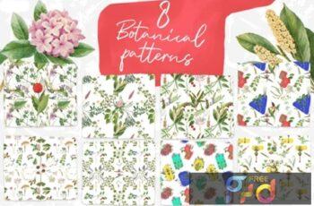 8 Vintage Botanical Patterns 1736070