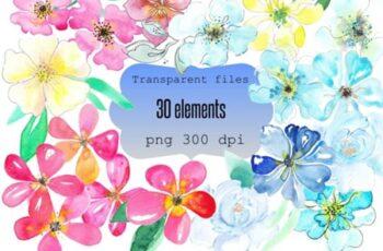 Watrcolor Flowers Clip Art Bundle 1746523 3