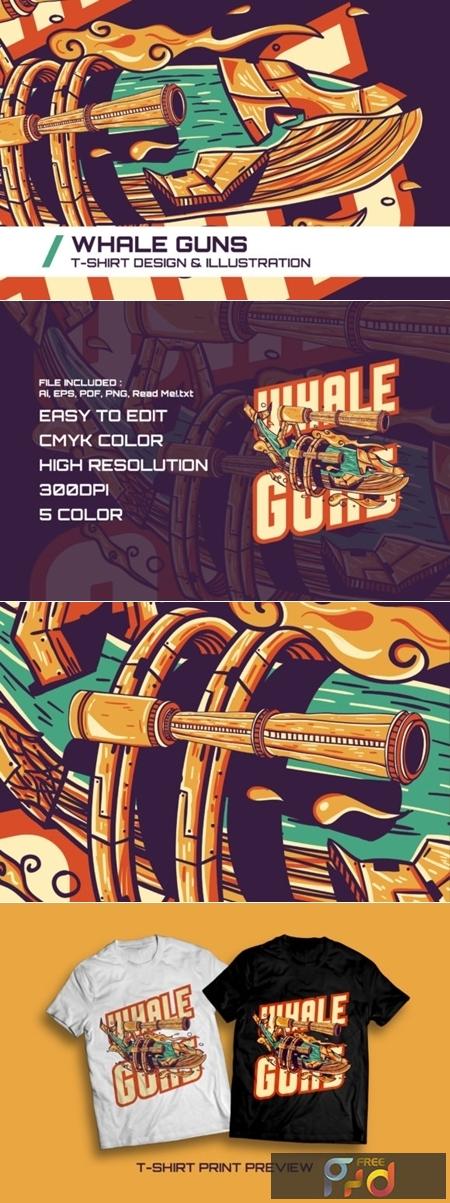 Whale Guns T-Shirt Illustration 1747091 1