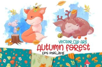 Autumn Forest Vector Clip Art 1748851 7