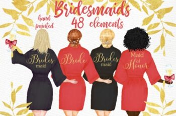 Bridesmaid Wedding Robes Clipart 1748843 7