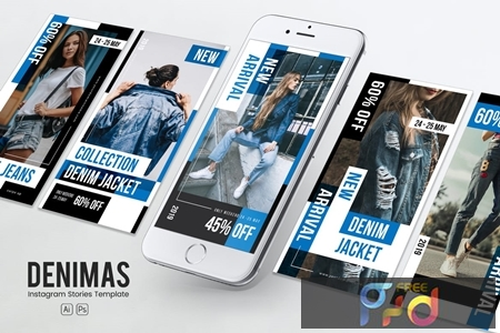 Denim Clothing Instagram Stories PSD & AI Template MX2ZGNP 1