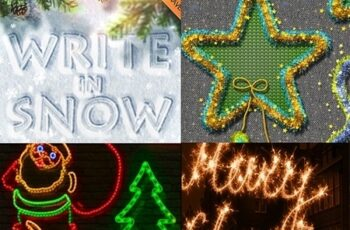 10 in 1 Christmas Photoshop Actions Bundle 22793168