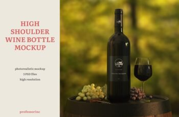 High Shoulder Wine Bottle Mockup 4159896 6