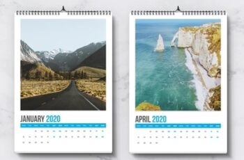 Wall Calendar Layout with Blue Accents 282478114 6