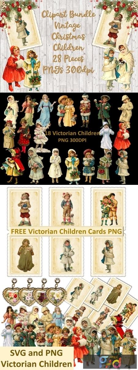 Vintage Christmas Children Clipart Set 1816880 Freepsdvn