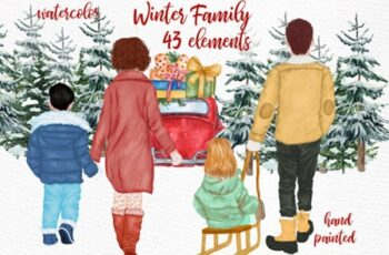 Winter Family Christmas Clipart 1816578 6