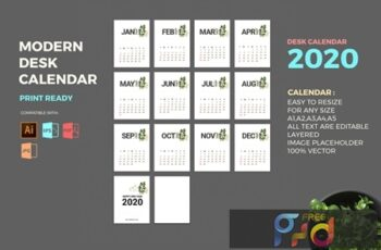 Modern 2020 Desk Calendar Pro 9ERMNWH 12