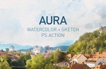 AURA Watercolor Sketch Photoshop Action 24723400 5