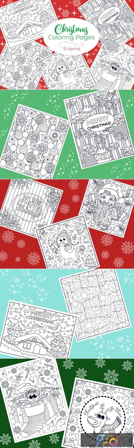 Christmas Coloring Pages 9 Vector Items 1831760 1