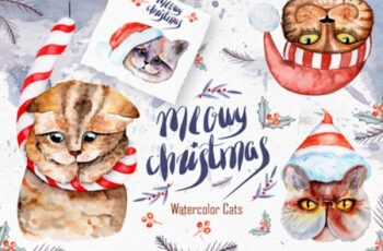Meowy Christmas Watercolor Collection 1831639 6