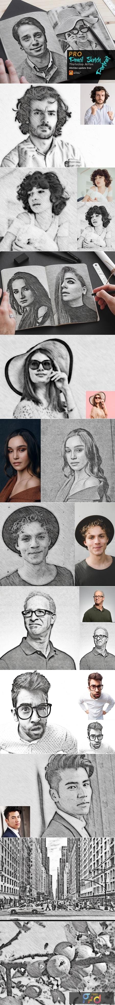 Pencil Sketch Portrait PS Action 3754742 1
