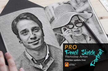 Pencil Sketch Portrait PS Action 3754742