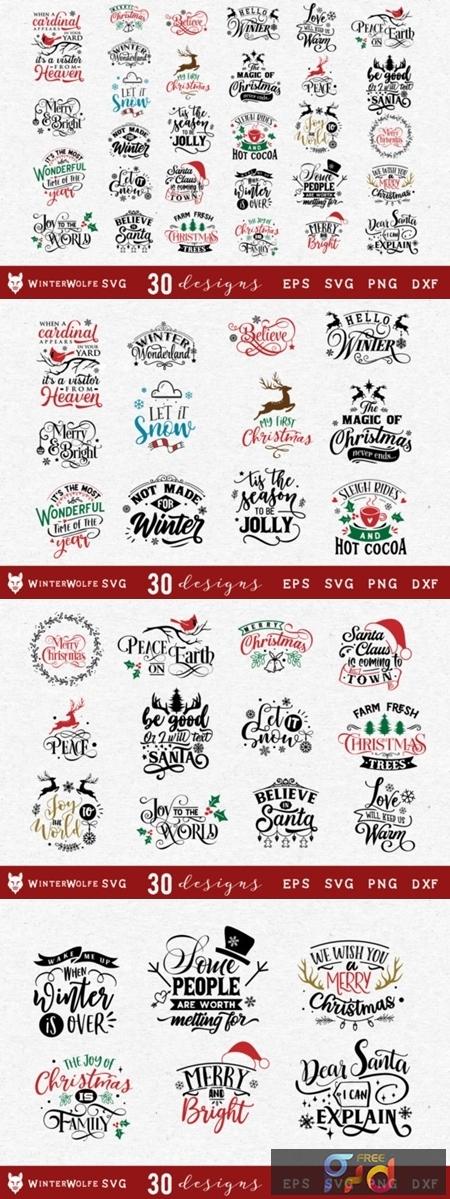 Christmas Bundle Svg 30 Designs 1838614 Freepsdvn