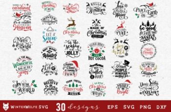 Christmas Bundle SVG 30 Designs 1838614 2