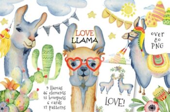 Cute Llamas. Watercolor Animals Clipart 1796142 2