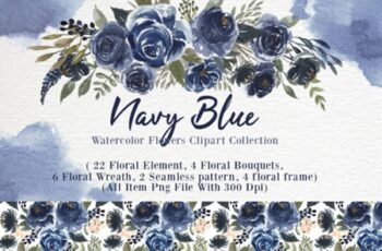 Navy Blue Flower Watercolor Clip-art 1838708 3