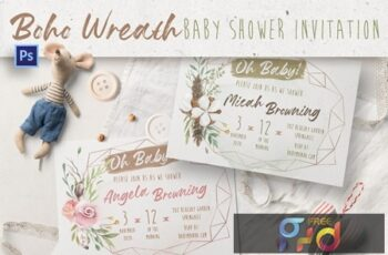 Boho Wreath Baby Shower Invitation 4