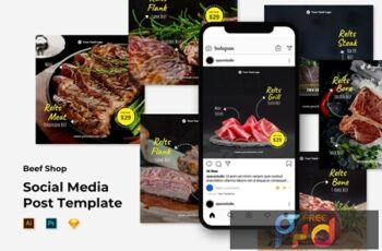 Instagram Post Feed Template - Beef Shop 9FD4EK6 3