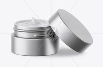 Opened Matte Metallic Cosmetic Jar Mockup 50404 8