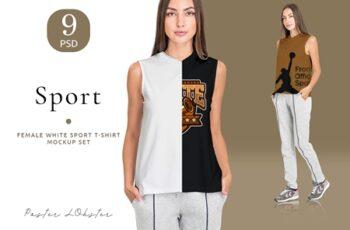 Female Sport T-shirt mockup set 4137122 4
