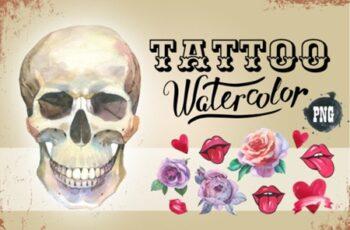 Tattoo Watercolor Set Skull 1881597 7