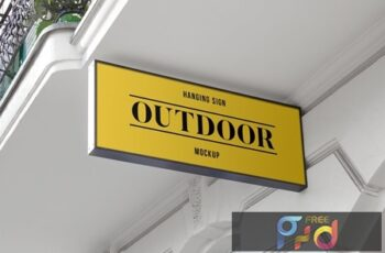 Outdoor Hanging Logo Sign Mockup #1 45FSFAV 7
