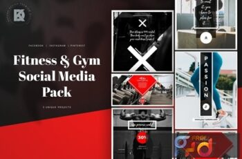Fitness & Gym Social Media Banners Pack P8AH863 6