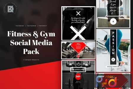 Fitness & Gym Social Media Banners Pack P8AH863 1