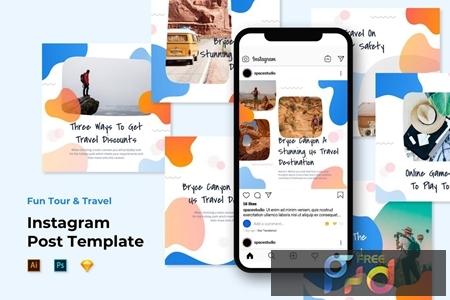 Instagram Post Templates - Travel Liquid Design X47NFBW 1