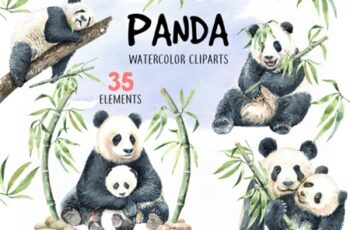 Panda Watercolor Animal Clip Art 1916155 4