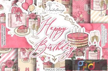 Birthday Girl Clipart and digital paper pack 9THGCG7 4