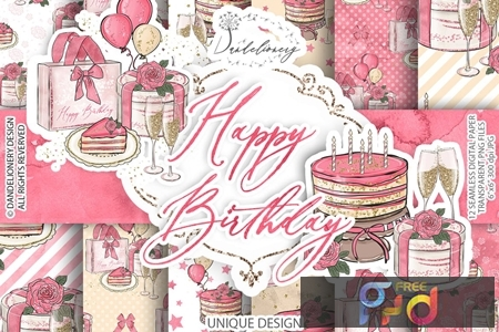 Birthday Girl Clipart and digital paper pack 9THGCG7 1
