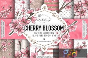 Cherry Blossom design and digital paper pack WLUGCSP 6