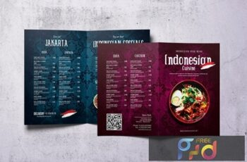 Indonesian Cuisine A4 & US Letter Bifold Menu UV7MALY 1