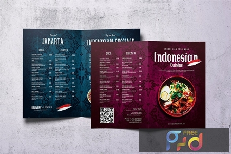 Indonesian Cuisine A4 & US Letter Bifold Menu UV7MALY 1